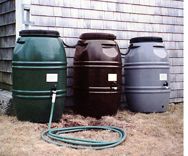 Three rain barrels shown in the colors offered